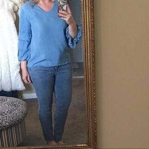 Velvet Heart Chambray Billowing Tiered Sleeves